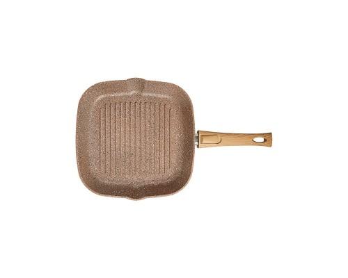 Сковорода-гриль квадрат 26х26см. (коричневый гранит) со съёмной ручкой