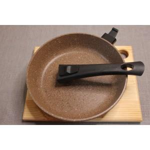 Сковорода литая из алюминия (коричневый гранит) Ø20. Ручка съемная