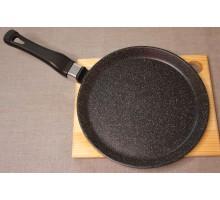 Сковорода блинная литая из алюминия (черный гранит) Ø20. Ручка несъемная