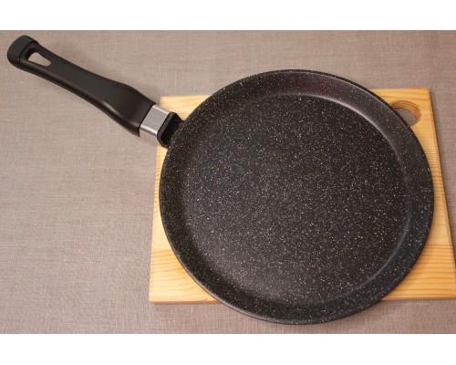 Сковорода блинная литая из алюминия (черный гранит) Ø22. Ручка несъемная.