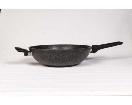 Вок литой из алюминия (черный гранит) 28см, съёмная ручка